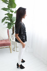 Lucy Peplum Top - Black