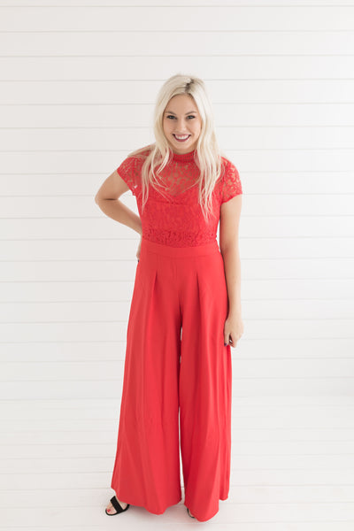 Georgia Mock Neck Jumpsuit - Red