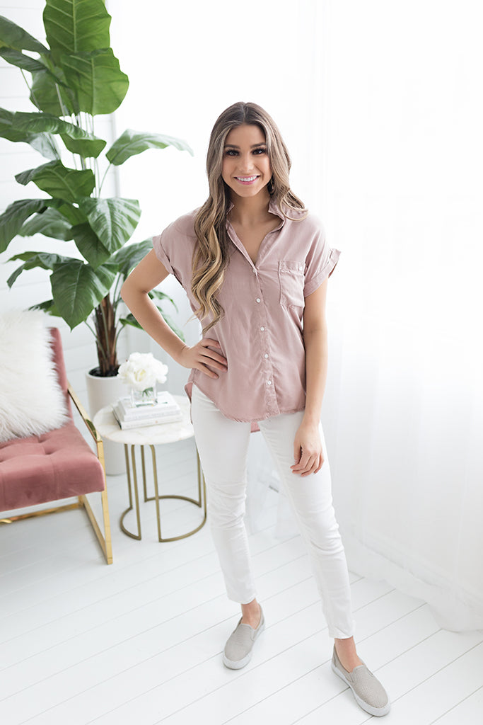 Lucy Button Up - Blush