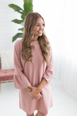 Ariel Bell Sleeve Shift Dress - Misty Pink