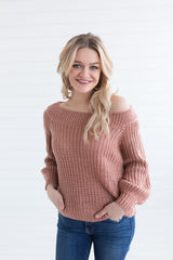 Brittany Boat Neck Sweater - Mauve