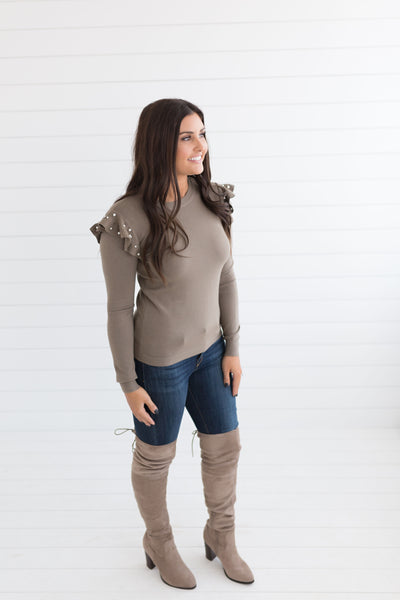 Claire Pearl Ruffle Sweater