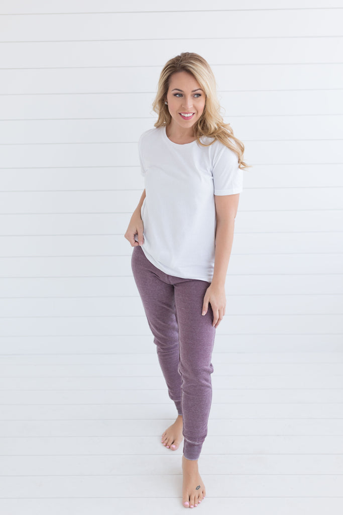 Sleeping in Jogger Pants - Heathered Plum