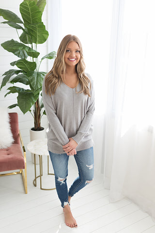 Whitney Classic Vneck Sweater - Grey