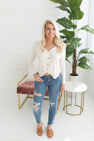 Jamie Button Up Cardigan - Ivory