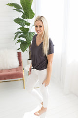 Bianca Knotted Tee - Charcoal