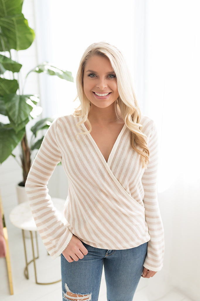 Charlotte Striped Wrap Sweater