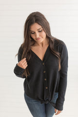 Sal Soft Knot Top - Black