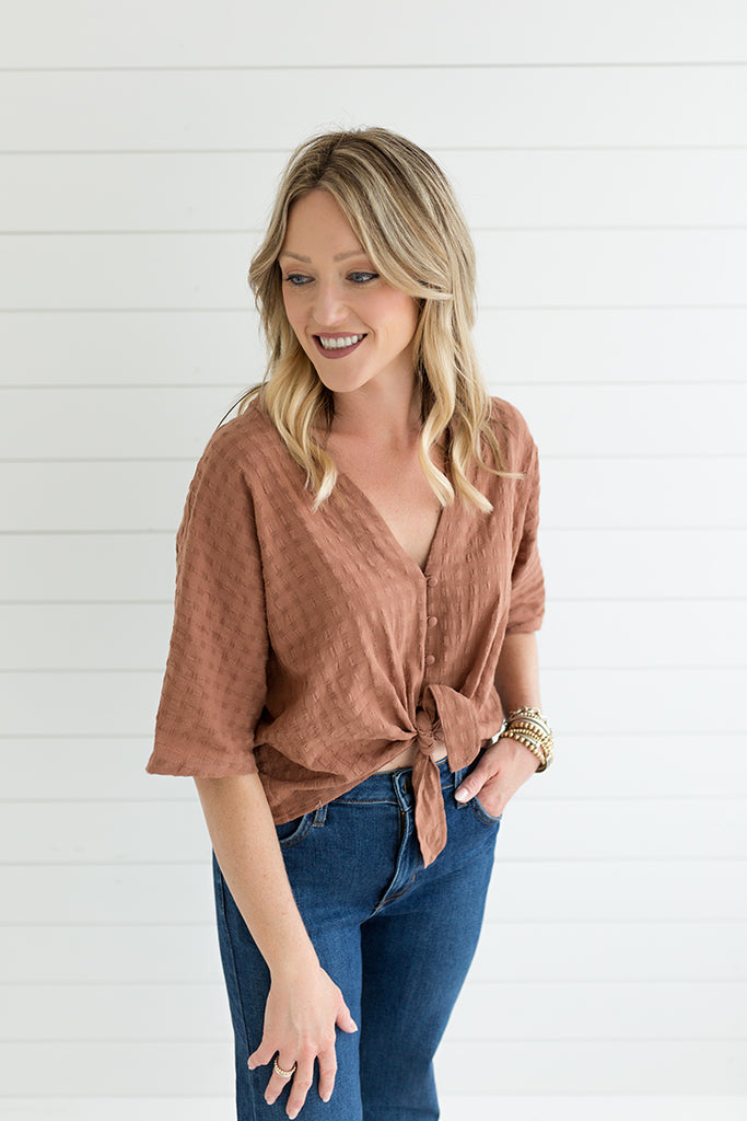 Bethany Tie Top - Brown
