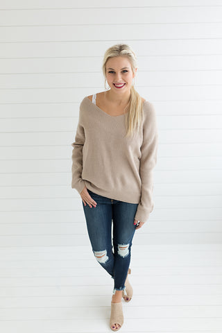Monica Twist Back Sweater - Taupe