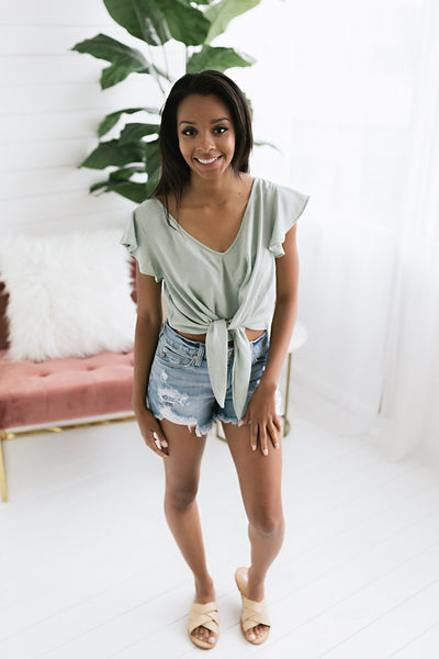 Shelly Tie Top - Mint