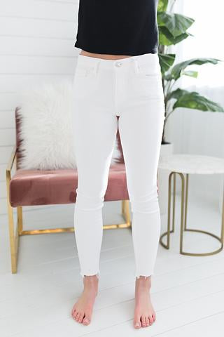 Clean Frayed Skinny Denim