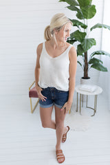 Laid Back Sweater Tank - White