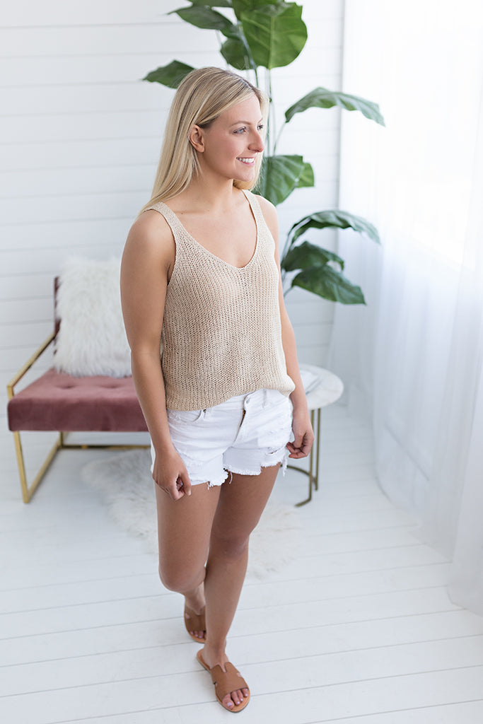 Laid Back Sweater Tank - Taupe