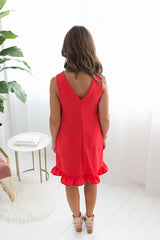 Any Occasion Ruffled Hem Dress - Red