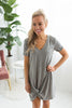 The Triblend Side Knot Dress - Grey