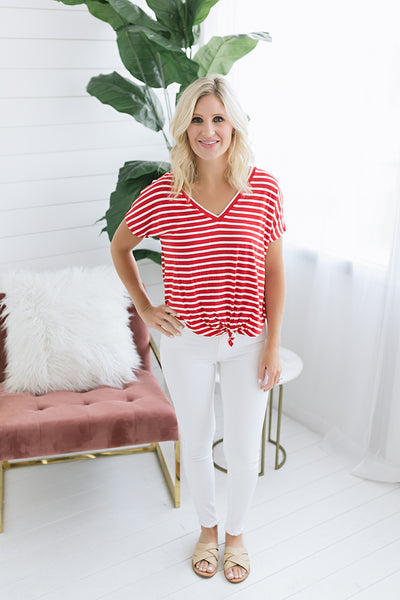 Bianca Striped Knotted Tee - Red