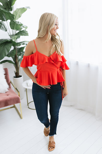 Those Who Wander Ruffled Top - Red
