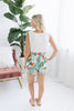 Vacation Mode Tropical Print Shorts - White