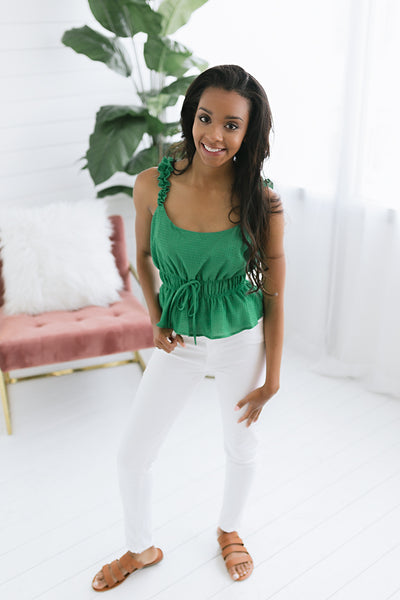 Lucky Me Cinched Waist Tank - Green