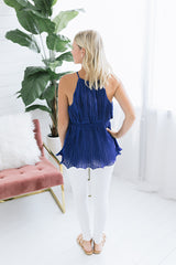 Sky High Pleated Blouse