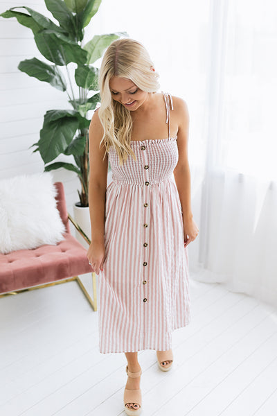 Button Me Up Striped Midi Dress