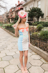 Floral Skies Strapless Dress