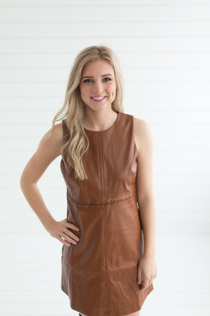 Be My Guest Leather Dress - Camel
