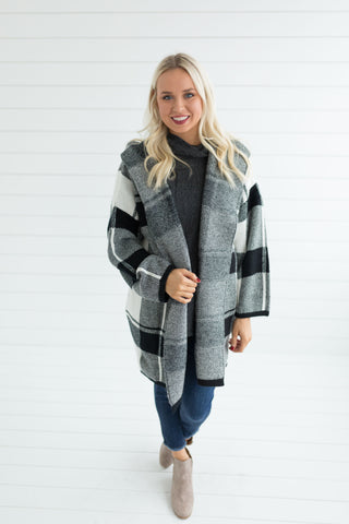 Kenzie Plaid Hooded Coat