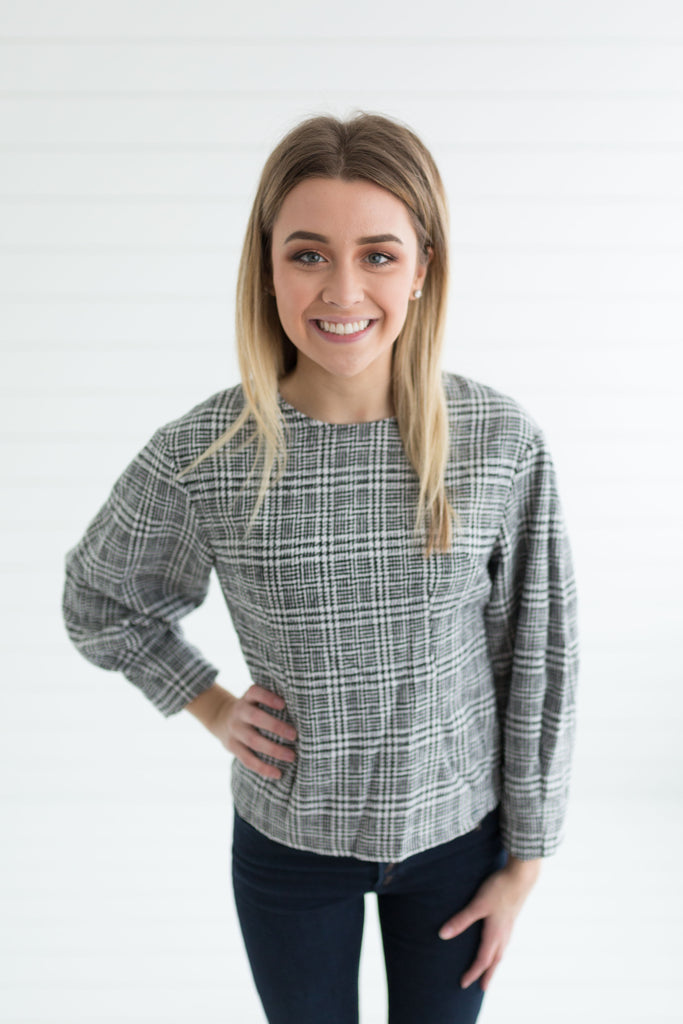 Carly Plaid Tweed Top
