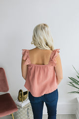 Together at Last Eyelet Top - Mauve