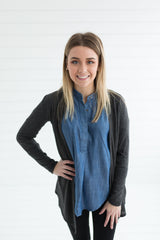 The Lightweight Natalie Cardigan - Charcoal