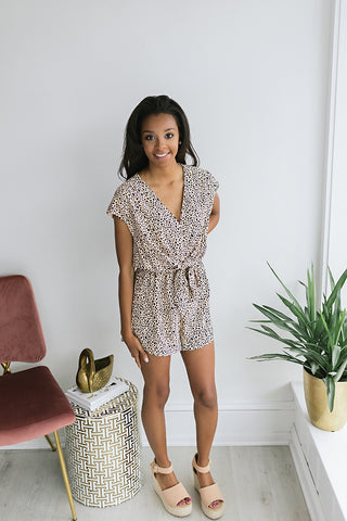 Soho Romper with Tie Waist - Taupe