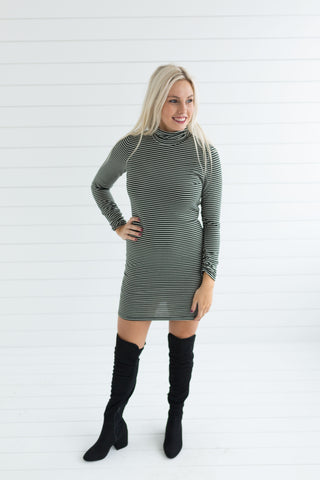 Rori Stripe Mock Neck Dress - Olive
