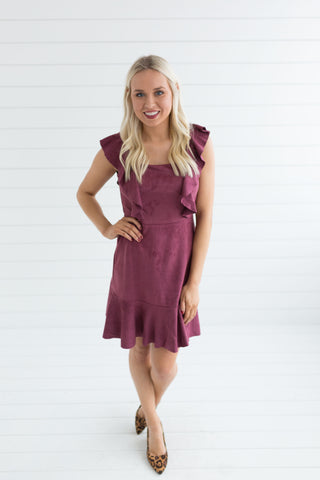 Annie Flounce Faux Suede Dress
