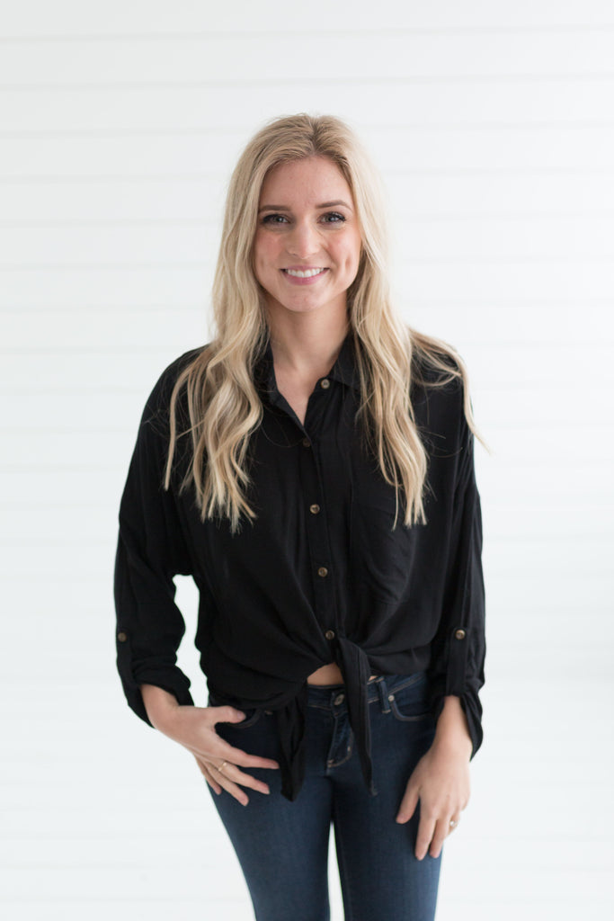 Logan Button Down Top - Black