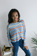 Summers End Striped Sweater - Blue Multi