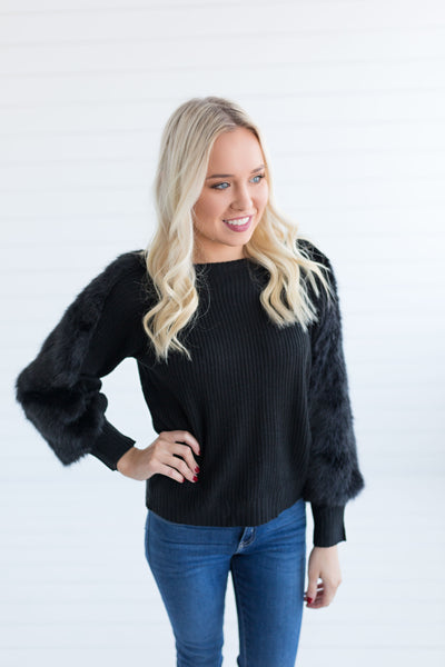 Erica Faux Fur Detail Pullover