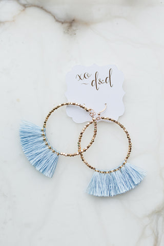 Rita Beaded Hoop with Tassel