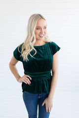 Carrie Velvet Top - Green