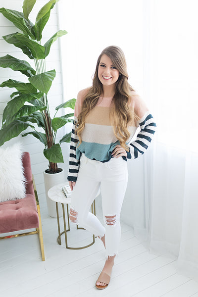 Summer Stripes Lightweight Sweater - Natural