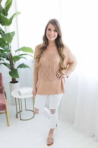 Come with Me Spring Sweater - Blush