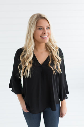 Mia Ruffle Sleeve Blouse - Black