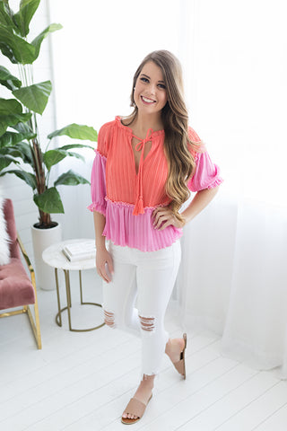 Scottsdale Flutter Two Tone Top