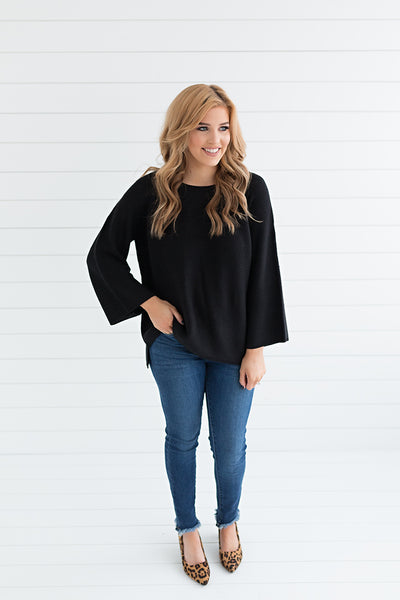 Lillian Trumpet Sleeve Pullover - Black