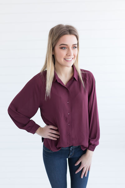 All About Business Button Down Blouse - Wine