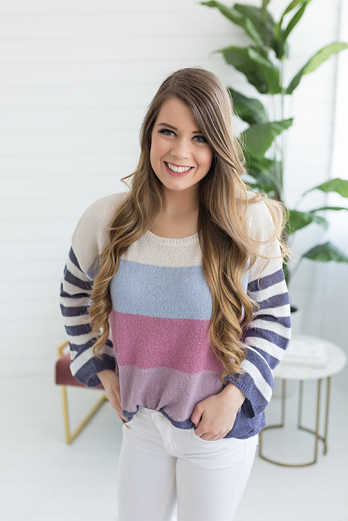 Summer Stripes Lightweight Sweater - Plum