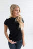Paige Mock Neck Short Sleeve Sweater - Black