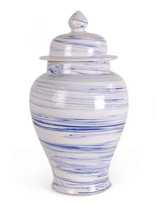 Large Blue swirl Ginger Jar