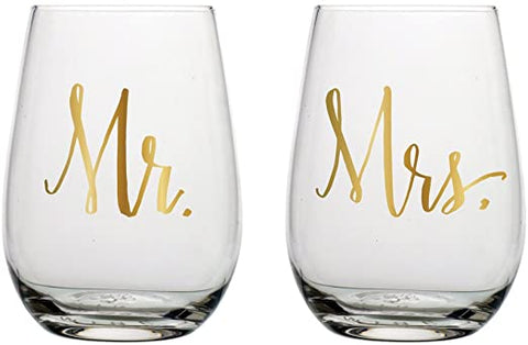 Mr. Mrs. Wine Glass Set